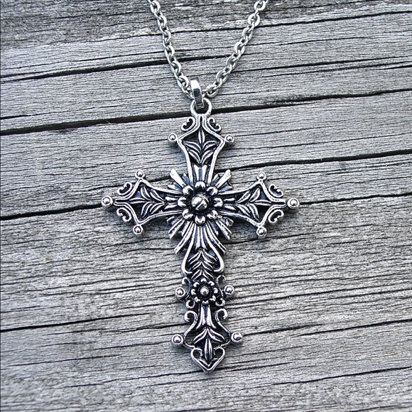 Jewelry - STAINLESS STEEL Floral Cross Pendant  Necklace